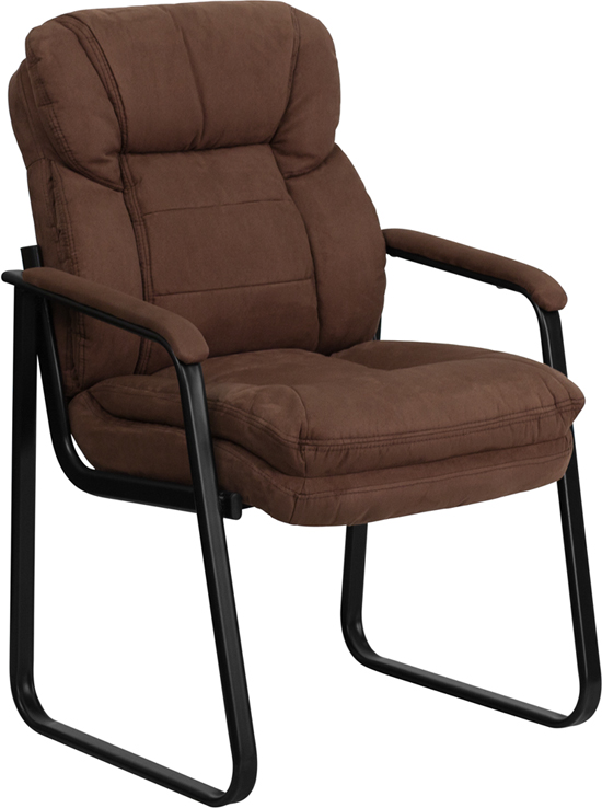 Ergonomic Home Brown Microfiber Executive Side Chair with Sled Base EH-GO-1156-BN-GG <b><font color=green>50% Off Read More Below...</font></b>