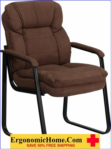 Ergonomic Home Brown Microfiber Executive Side Chair with Sled Base EH-GO-1156-BN-GG <b><font color=green>50% Off Read More Below...</font></b></font></b>