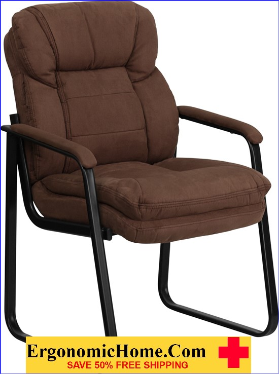 Ergonomic Home Brown Microfiber Executive Side Chair with Sled Base EH-GO-1156-BN-GG   VIDEO BELOW.