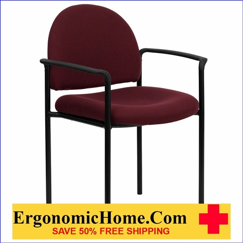 Ergonomic Home Burgundy Fabric Comfortable Stackable Steel Side Chair with Arms EH-BT-516-1-BY-GG <b><font color=green>50% Off Read More Below...</font></b>