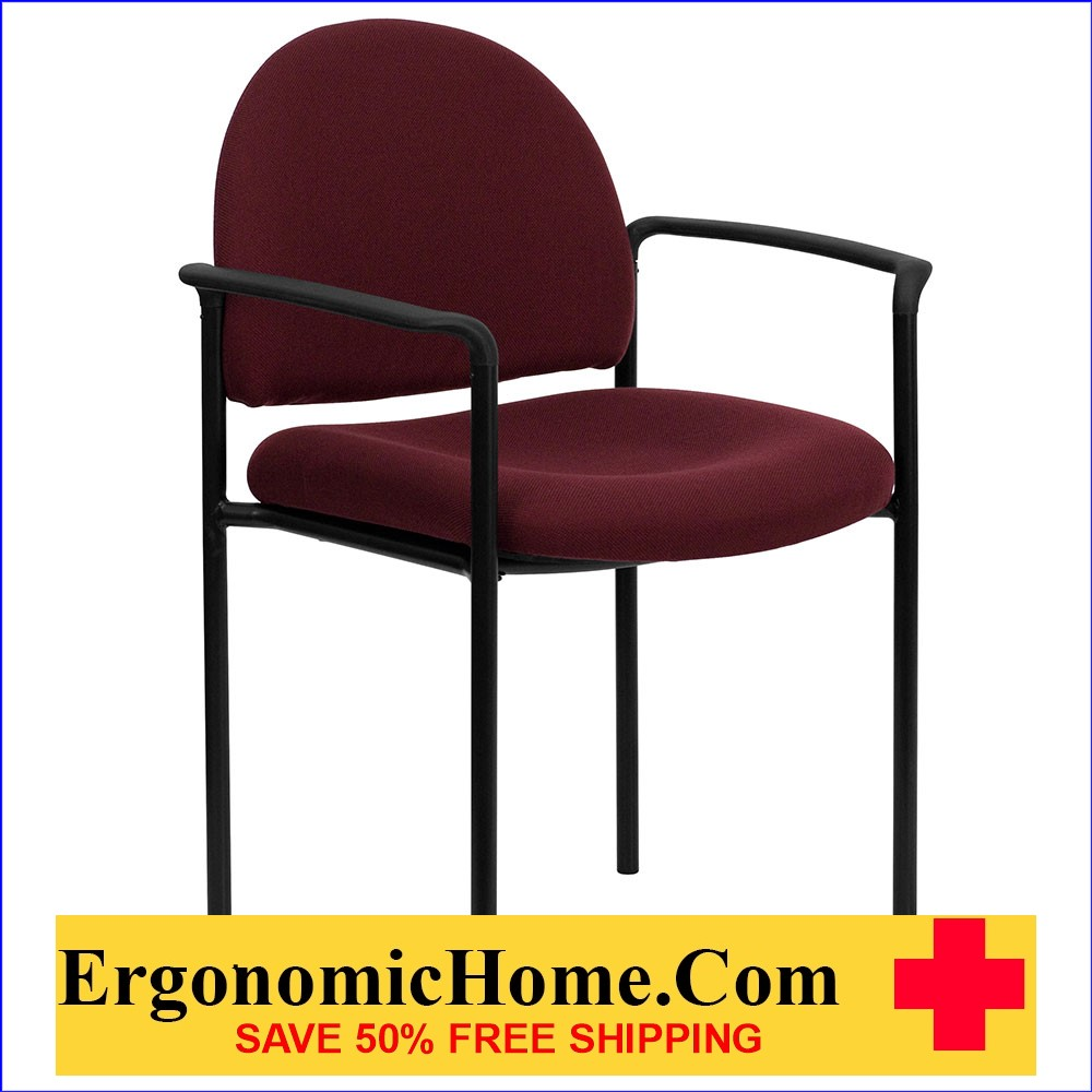 </b></font>Ergonomic Home Burgundy Fabric Comfortable Stackable Steel Side Chair with Arms EH-BT-516-1-BY-GG <b></font>. </b></font></b>