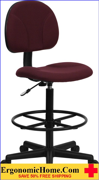 Ergonomic Home Burgundy Fabric Drafting Chair (Adjustable Range 22.5''-27''H or 26''-30.5''H) EH-BT-659-BY-GG <b><font color=green>50% Off Read More Below...</font></b>