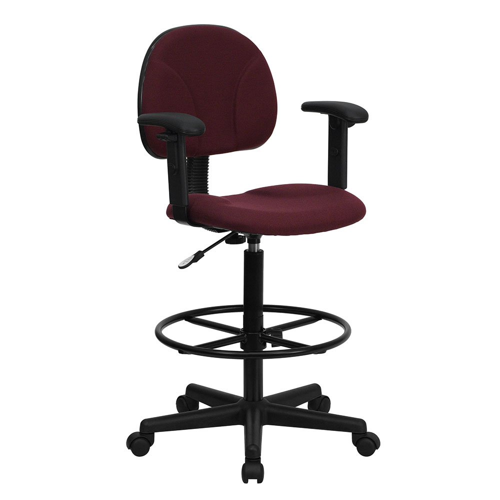Ergonomic Home Drafting Chair Burgundy Fabric  with Height Adjustable Arms (Adjustable Range 22.5''-27''H or 26''-30.5''H)