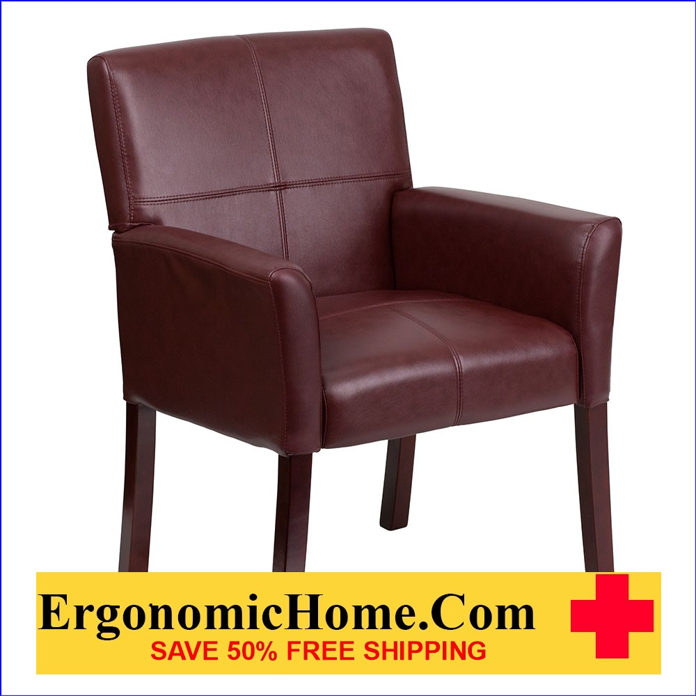 Ergonomic Home Burgundy Leather Executive Side Chair or Reception Chair with Mahogany Legs EH-BT-353-BURG-GG   VIDEO BELOW.