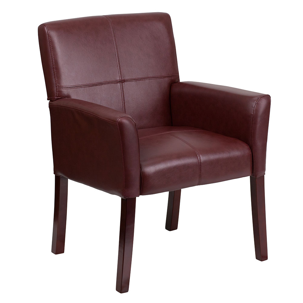 Ergonomic Home Burgundy Leather Executive Side Chair or Reception Chair with Mahogany Legs EH-BT-353-BURG-GG <b><font color=green>50% Off Read More Below...</font></b>