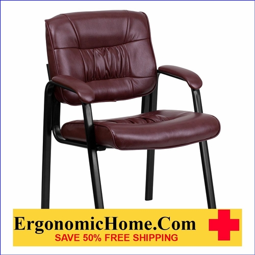 Ergonomic Home Burgundy Leather Executive Side Chair with Black Frame Finish EH-BT-1404-BURG-GG <b><font color=green>50% Off Read More Below...</font></b></font></b>&#x1F384<font color=red><b>ERGONOMICHOME HOLIDAY SALE</b></font>&#x1F384
