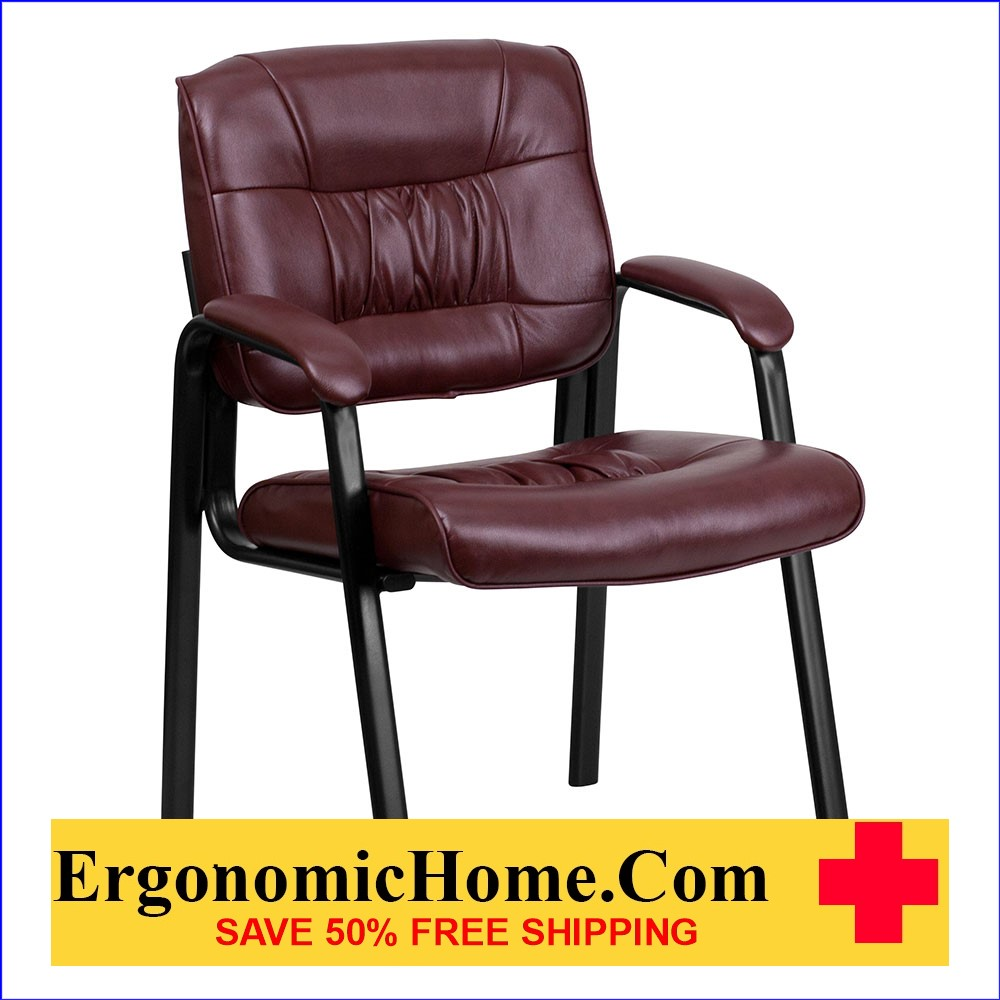 Ergonomic Home Burgundy Leather Executive Side Chair with Black Frame Finish EH-BT-1404-BURG-GG .