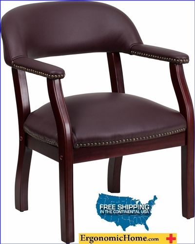 Ergonomic Home Burgundy Top Grain Leather Conference Chair / Guest Chair EH-B-Z105-LF19-LEA-GG <b><font color=green>50% Off Read More Below...</font></b></font></b>