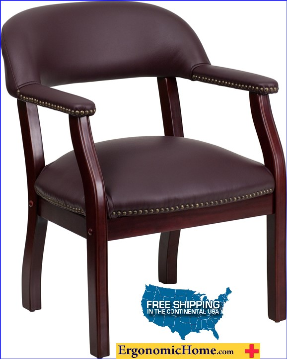 Ergonomic Home Burgundy Top Grain Leather Conference Chair / Guest Chair EH-B-Z105-LF19-LEA-GG .