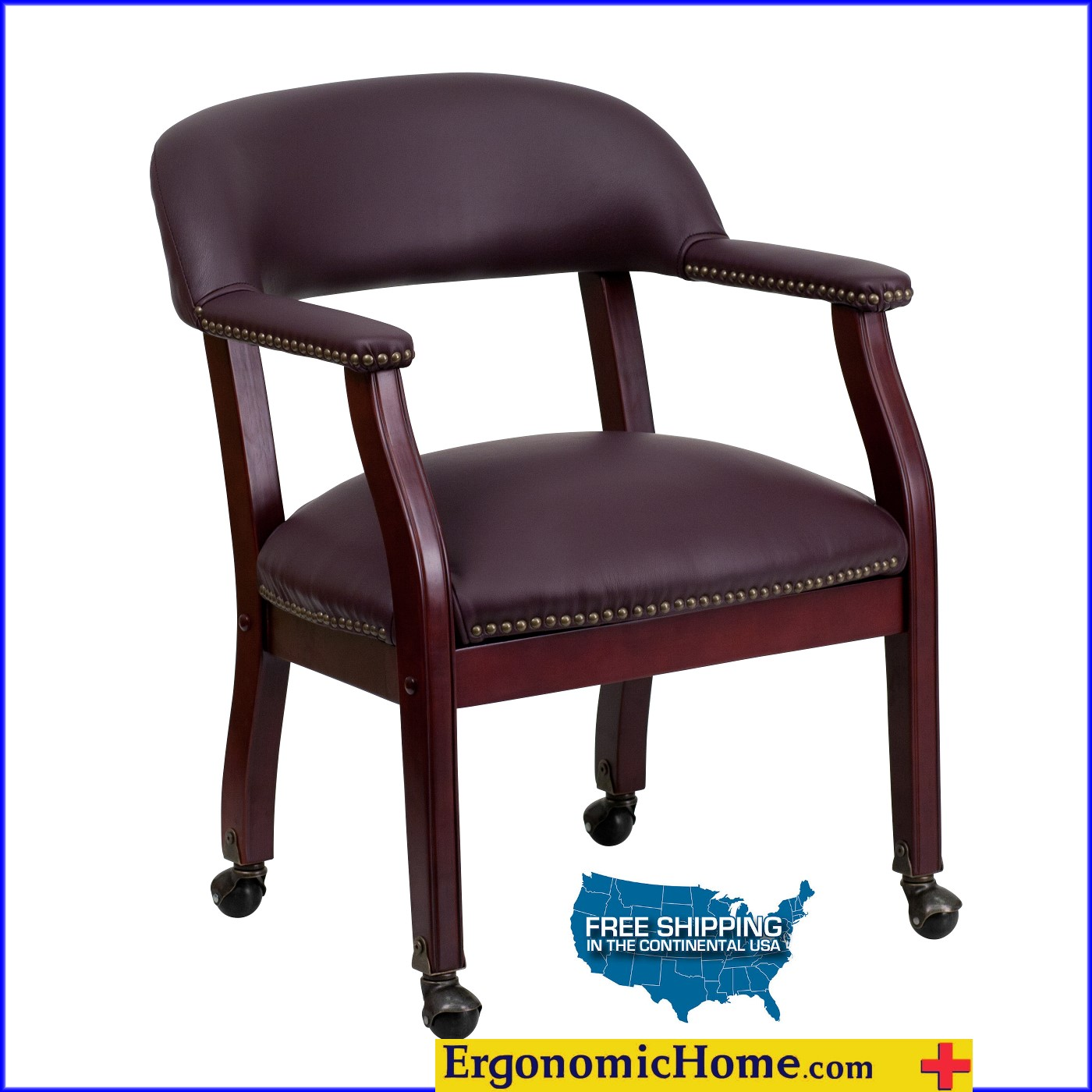 </b></font>Ergonomic Home Burgundy Top Grain Leather Conference Chair/Guest Chair with Casters EH-B-Z100-LF19-LEA-GG <b></font>. </b></font></b>