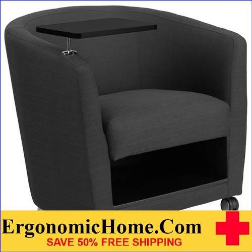 Ergonomic Home Charcoal Gray Fabric Guest Chair with Tablet Arm, Front Wheel Casters and Under Seat Storage <b><font color=green>50% Off Read More Below...</font></b></font></b>