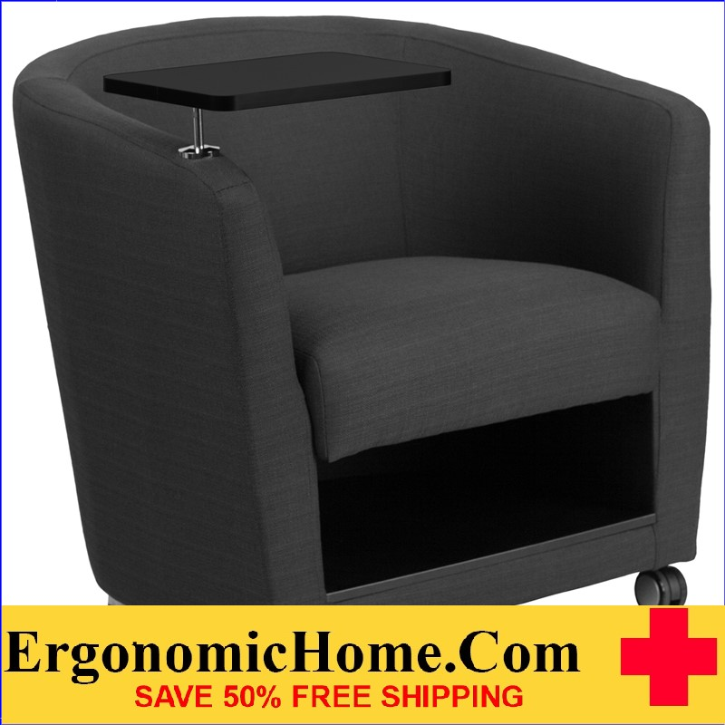 Ergonomic Home Charcoal Gray Fabric Guest Chair with Tablet Arm, Front Wheel Casters and Under Seat Storage <b><font color=green>50% Off Read More Below...</font></b>