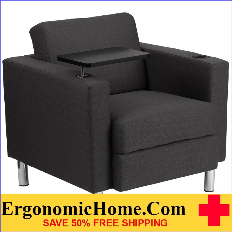 Ergonomic Home Charcoal Gray Fabric Guest Chair with Tablet Arm, Tall Chrome Legs and Cup Holder <b><font color=green>50% Off Read More Below...</font></b>