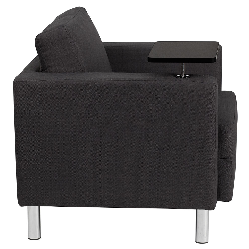 Ergonomic Home Charcoal Gray Fabric Guest Chair With