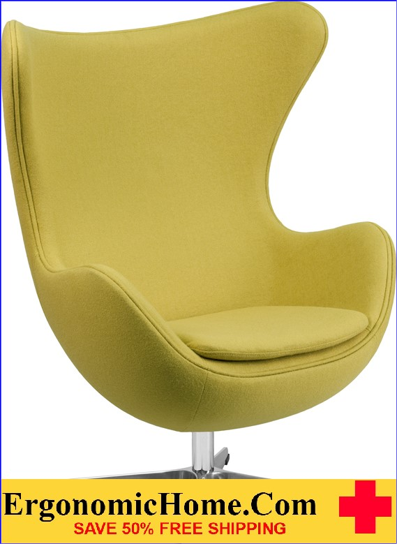 Ergonomic Home Citron Wool Fabric Egg Chair with Tilt-Lock Mechanism <b><font color=green>50% Off Read More Below...</font></b>