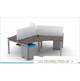 <font color=#c60>Save 51% + Free Shipping + Assembly Included!</font> Fixed Height: Clear Design 120 Degree Pod of 3 Desk Furniture. <font color=#c60>Read More...</font>