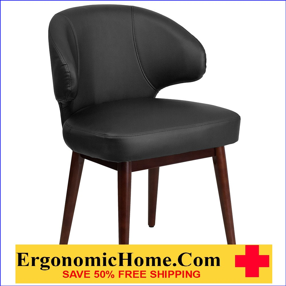 Ergonomic Home Comfort Back Series Black Reception-Lounge-Office Chair with Walnut Legs EH-BT-1-BK-GG.