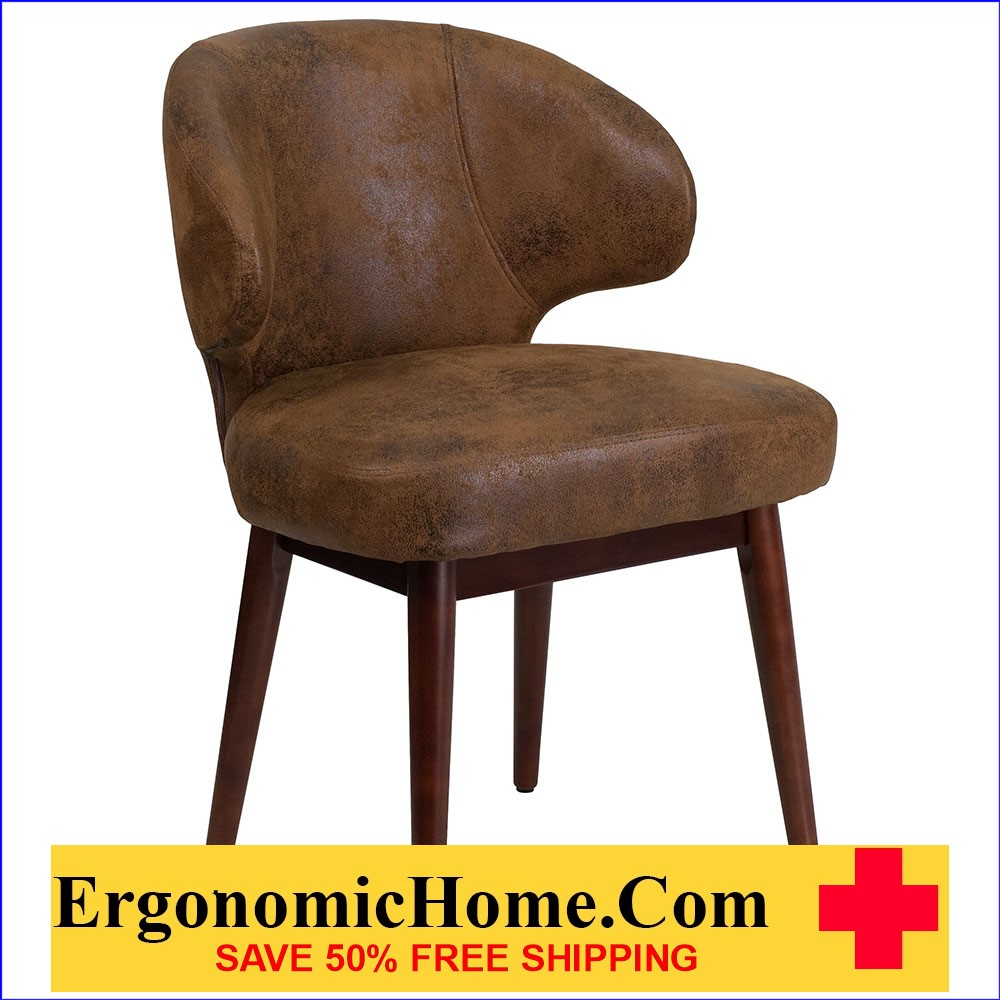 Ergonomic Home Comfort Back Series Bomber Jacket Microfiber Reception-Lounge-Office Chair with Walnut Legs EH-BT-5-BOM-GG .