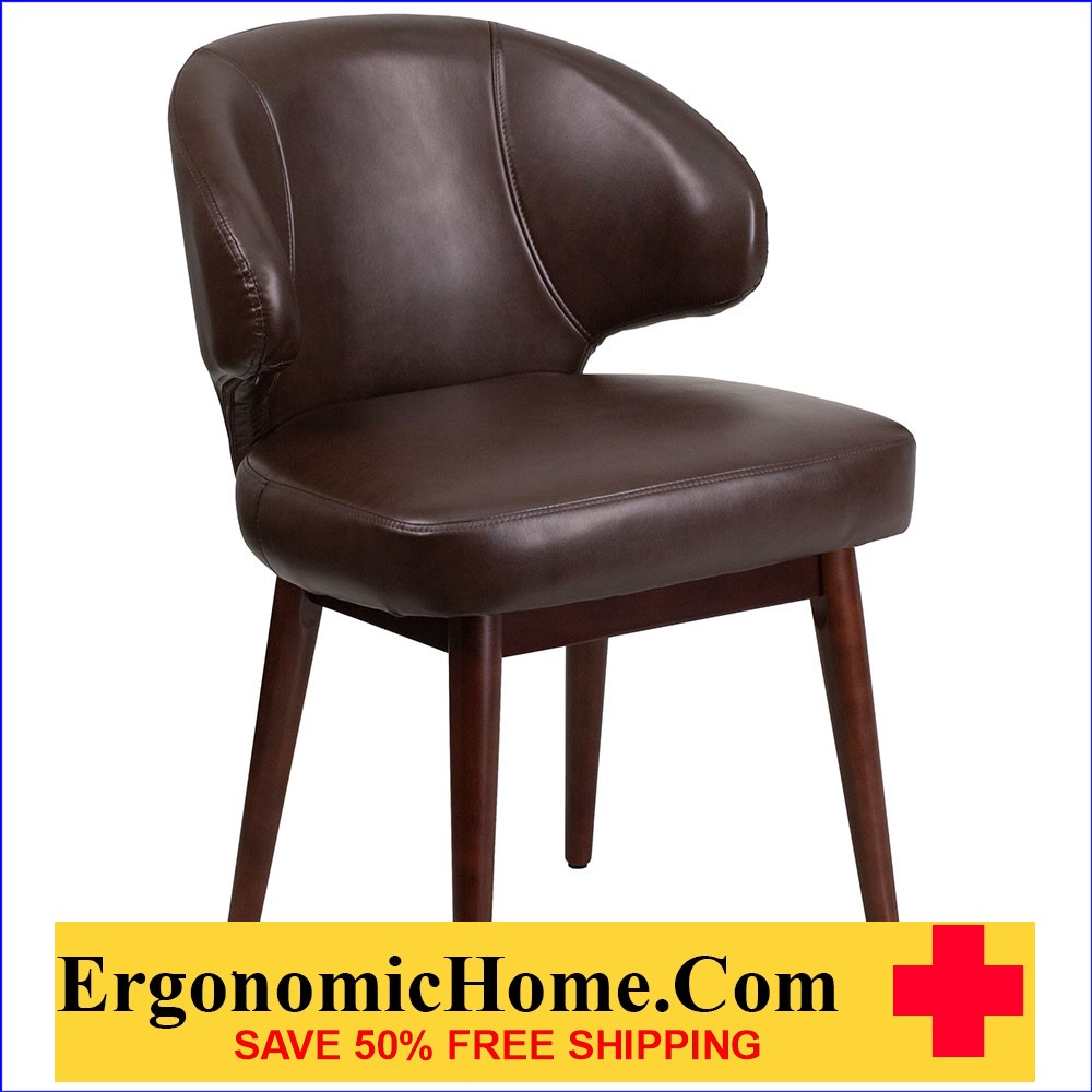 Ergonomic Home Comfort Back Series Brown Leather Reception-Lounge-Office Chair with Walnut Legs EH-BT-4-BN-GG .