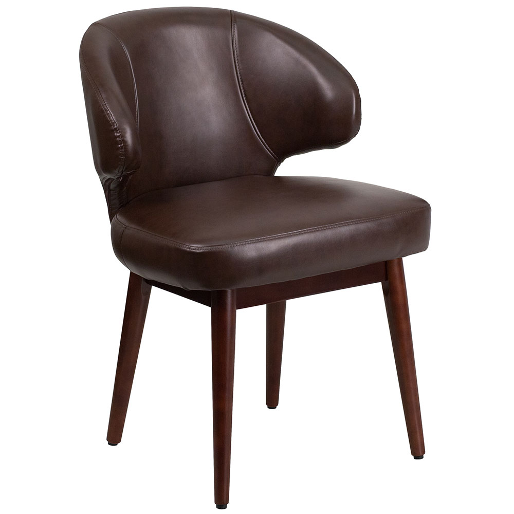 comfort back series brown leather chair with walnut legs