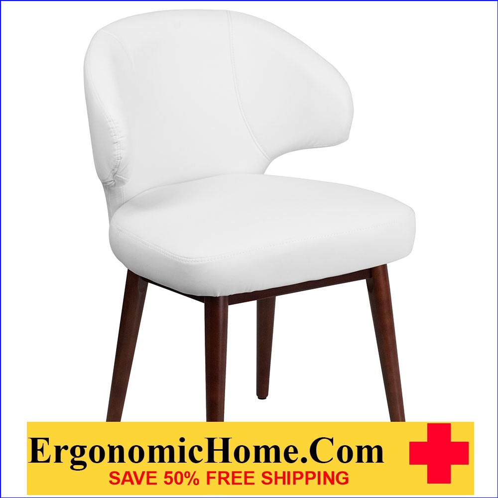 Ergonomic Home Comfort Back Series White Leather Reception-Lounge-Office Chair with Walnut Legs EH-BT-2-WH-GG .