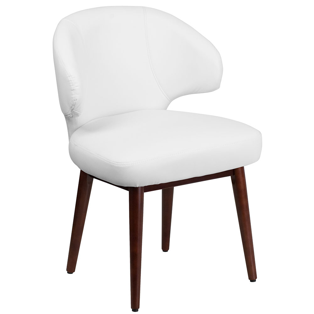 comfort back series white leather chair with walnut legs