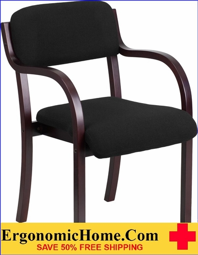 Ergonomic Home Contemporary Black Fabric Wood Side Chair with Mahogany Frame EH-SD-2052A-MAH-GG <b><font color=green>50% Off Read More Below...</font></b>
