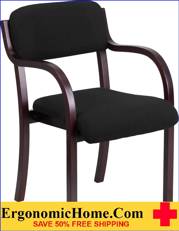 Ergonomic Home Contemporary Black Fabric Wood Side Chair with Mahogany Frame EH-SD-2052A-MAH-GG .