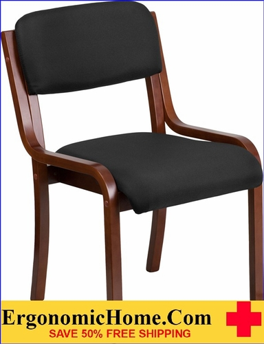 Ergonomic Home Contemporary Black Fabric Wood Side Chair with Walnut Frame EH-UH-5071-BK-WAL-GG <b><font color=green>50% Off Read More Below...</font></b></font></b>