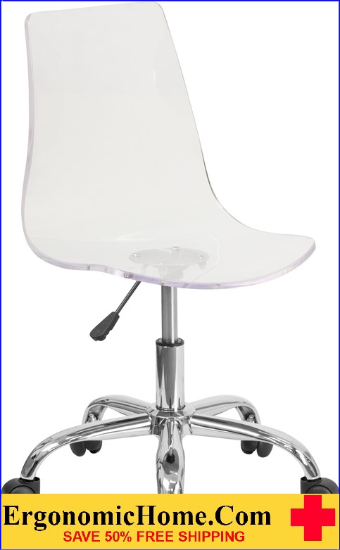 Ergonomic Home Contemporary Transparent Acrylic Task Chair with Chrome Base <b><font color=green>50% Off Read More Below...</font></b>