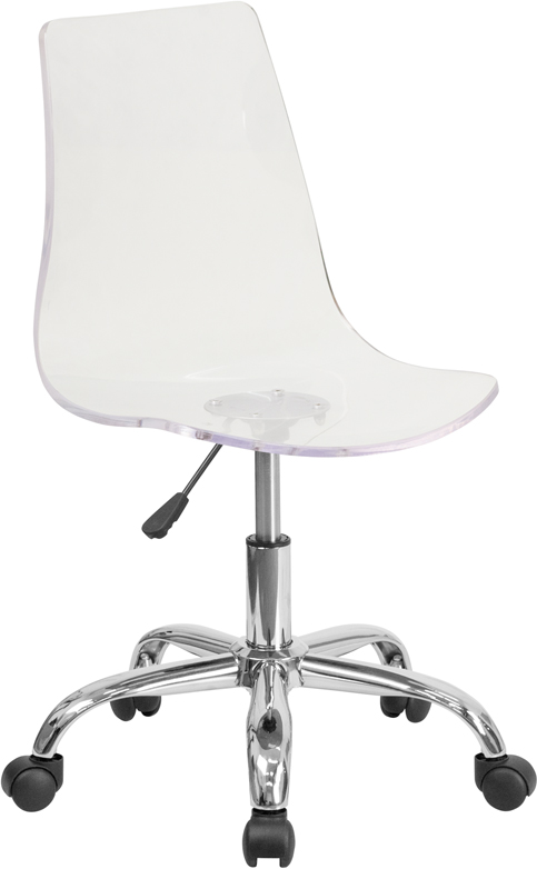 Contemporary Transparent Acrylic Task Chair with Chrome Base <b><font color=green>50% Off Read More Below...</font></b>