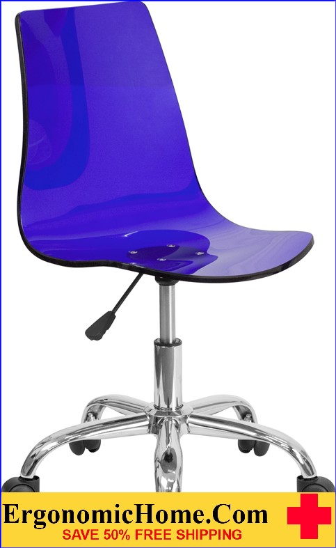 Ergonomic Home Contemporary Transparent Blue Acrylic Task Chair with Chrome Base <b><font color=green>50% Off Read More Below...</font></b>