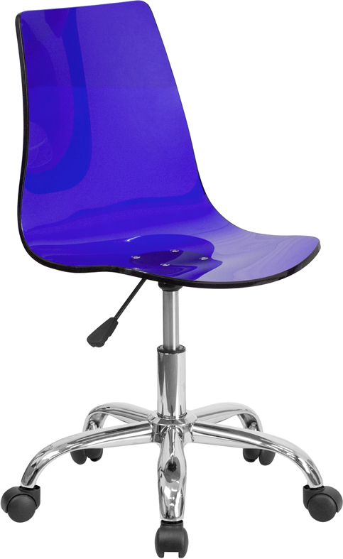 Contemporary Transparent Blue Acrylic Task Chair with Chrome Base <b><font color=green>50% Off Read More Below...</font></b>