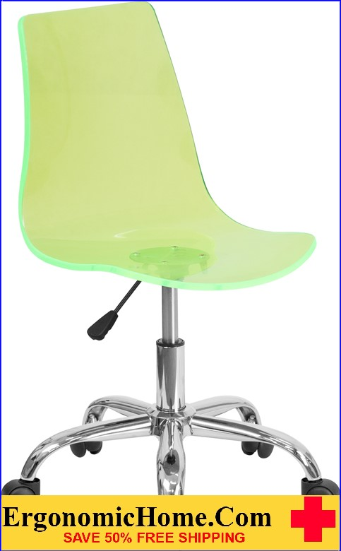 Ergonomic Home Contemporary Transparent Green Acrylic Task Chair with Chrome Base <b><font color=green>50% Off Read More Below...</font></b>