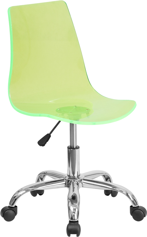 Contemporary Transparent Green Acrylic Task Chair with Chrome Base <b><font color=green>50% Off Read More Below...</font></b>