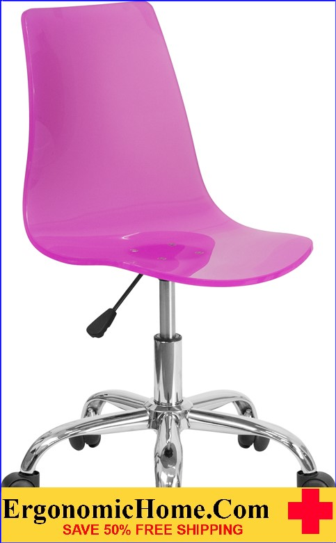 Ergonomic Home Contemporary Transparent Hot Pink Acrylic Task Chair with Chrome Base <b><font color=green>50% Off Read More Below...</font></b></font></b>