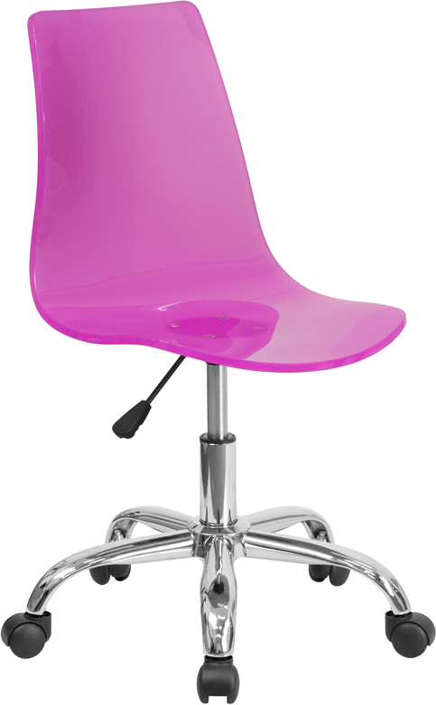 Ergonomic Home Contemporary Transparent Hot Pink Acrylic Task Chair with Chrome Base <b><font color=green>50% Off Read More Below...</font></b>