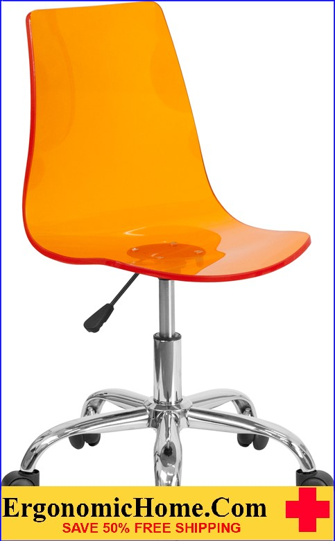 Ergonomic Home Contemporary Transparent Orange Acrylic Task Chair with Chrome Base <b><font color=green>50% Off Read More Below...</font></b>
