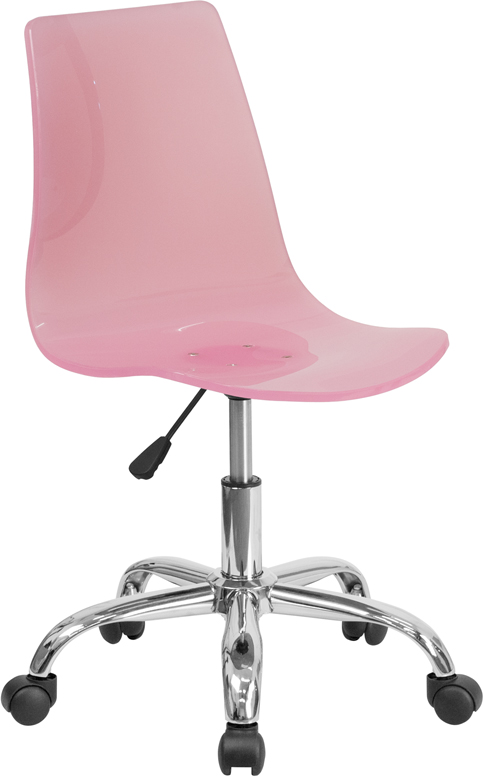 Ergonomic Home Contemporary Transparent Pink Acrylic Task Chair with Chrome Base <b><font color=green>50% Off Read More Below...</font></b>