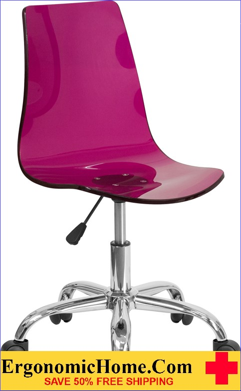 Ergonomic Home Contemporary Transparent Purple Acrylic Task Chair with Chrome Base <b><font color=green>50% Off Read More Below...</font></b></font></b>