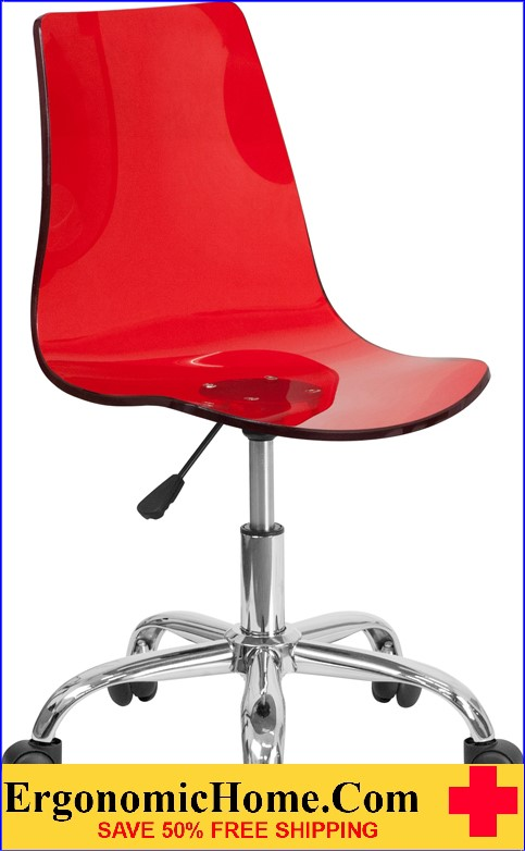Ergonomic Home Contemporary Transparent Red Acrylic Task Chair with Chrome Base <b><font color=green>50% Off Read More Below...</font></b></font></b>