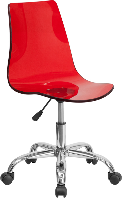 Ergonomic Home Contemporary Transparent Red Acrylic Task Chair with Chrome Base <b><font color=green>50% Off Read More Below...</font></b>