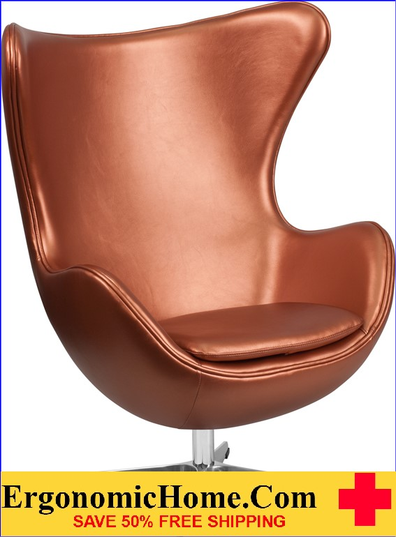 Ergonomic Home Copper Leather Egg Chair With Tilt Lock Mechanism U003cbu003eu003cfont