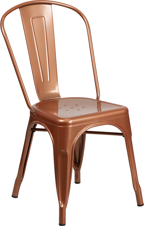 ERGONOMIC HOME Copper Metal Indoor-Outdoor Stackable Chair