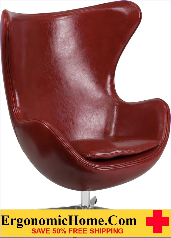 Ergonomic Home Cordovan Leather Egg Chair with Tilt-Lock Mechanism <b><font color=green>50% Off Read More Below...</font></b>