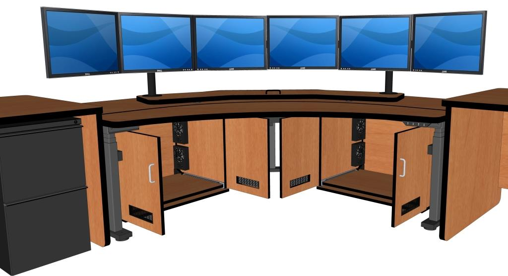 Control Room Desk Corner Computer Includes Two Cpu Cabinets Focal Platform For Monitors Rfq1778 Fp84 Below