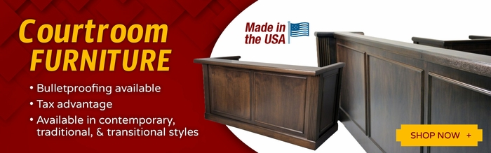 <b>COURTROOM FURNITURE: JUDGES DESKS, DAIS FURNITURE FOR COUNCIL CHAMBERS, FURNITURE WORKSTATIONS, COURTROOM BENCHES, SEATING, MOCK COURTROOM FURNITURE.</b>