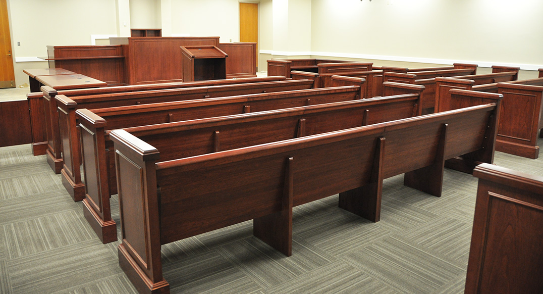 <b>COURTROOM BENCHES FOR SPECTATOR SEATING</b>