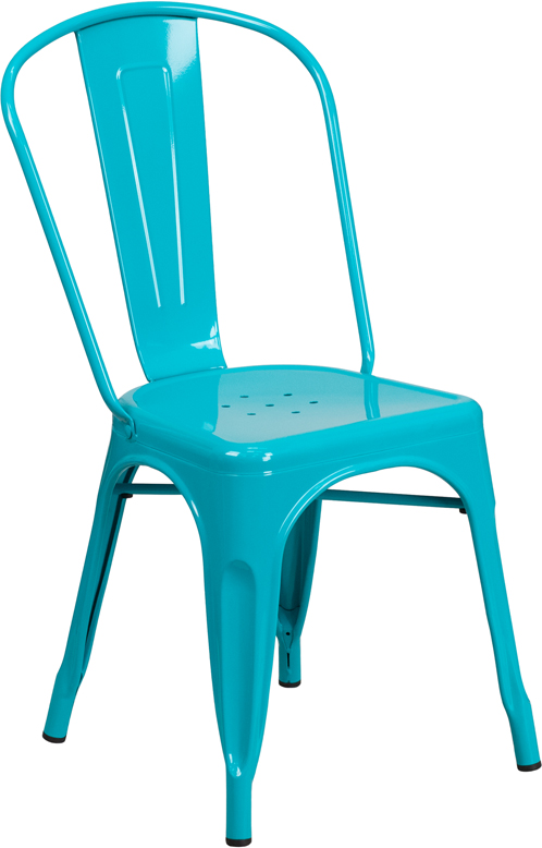 ERGONOMIC HOME Crystal Blue Metal Indoor-Outdoor Stackable Chair
