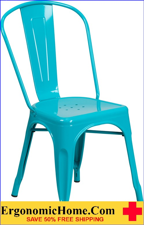 ERGONOMIC HOME Crystal Blue Metal Indoor-Outdoor Stackable Chair <b><font color=green>50% Off Read More Below...</font></b>
